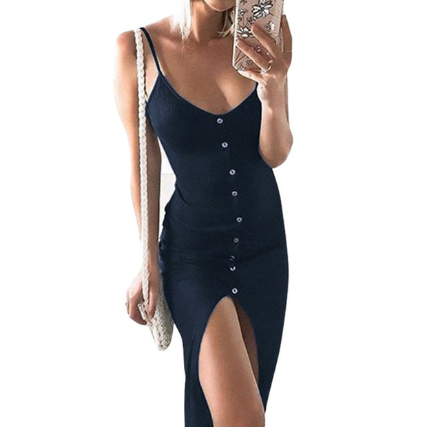 sexy sling button front slit dress