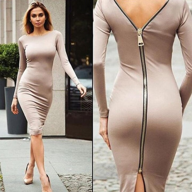 Women Bodycon  Back Zipper Crew Neck Long Sleeve Midi Dresses