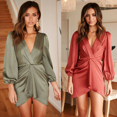 Women Long Sleeve Ruched Wrap Bodycon Pullover Mini Dress