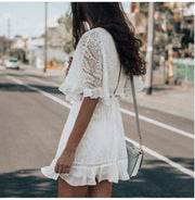 Women White Hollow Out V Neck Dress