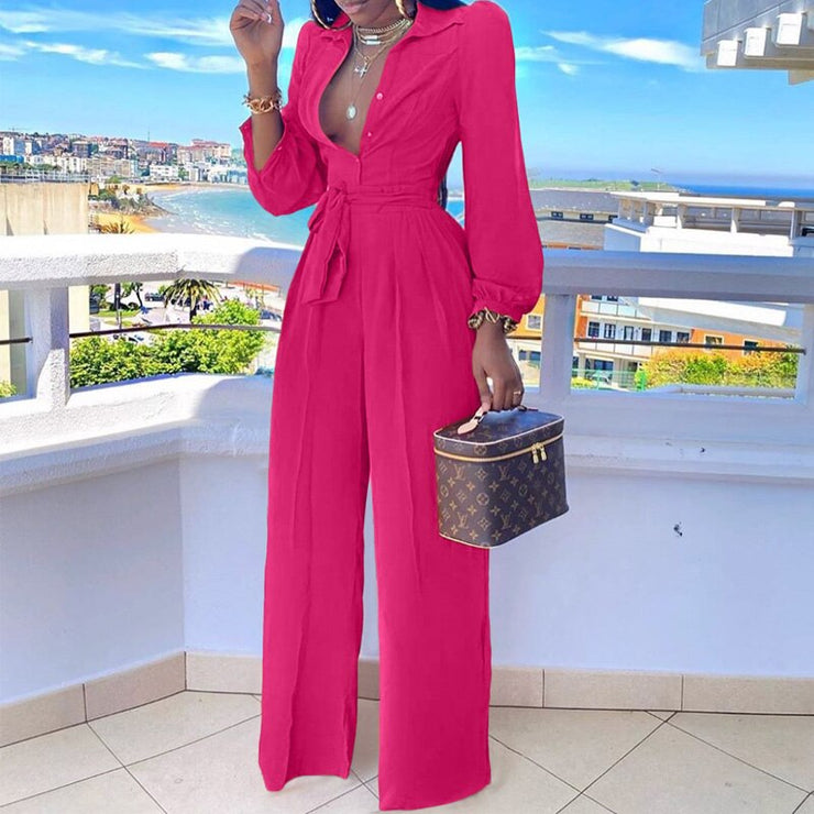 Women Long Sleeve Turn Down Collar Jumpsuit
