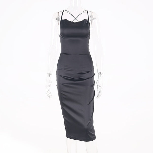 Satin lace up women bodycon dress
