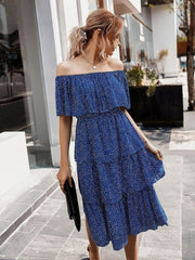 Women Slash Neck Polka Dot Party Casual Off Shoulder