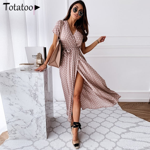 Polka Dot V Neck Wrap Long Dress