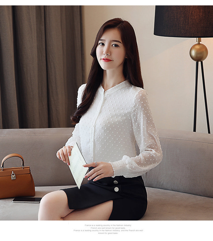Long Sleeve Women Shirts White Blouse