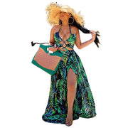 Bohemian Palm Leaf Maxi Dress