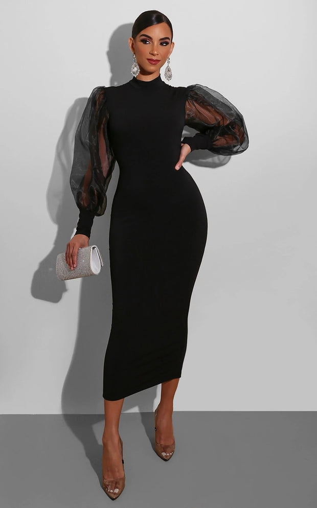 Mesh Lantern Sleeve Slim Midi Dress