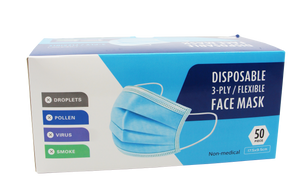 DISPOSABLE 3-PLY/FLEXIBLE 藍色三層口罩 50片裝  Disposable 3-Ply/Flexible Face Mask 50pcs