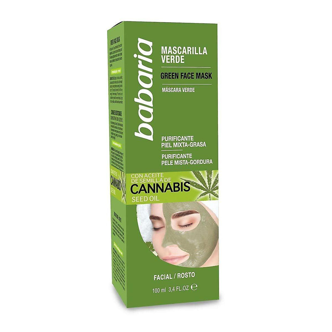 BABARIA CANNABIS FACE MASK (GREEN) 100ML 西班牙 Babaria/芭碧兒  大麻籽油綠色面膜 100ML