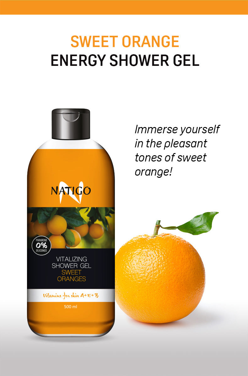 NATIGO 甜橙活力沐浴露   NATIGO SWEET ORANGES VITALIZING SHOWER GEL  500ML