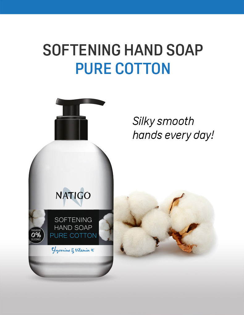 NATIGO 純棉倍潤潔手液   NATIGO SOFTENING HAND SOAP PURE COTTON  500ML