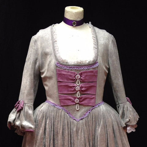 18th Century Dress in Grey and Pink