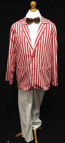 1920s striped oxford boater in red