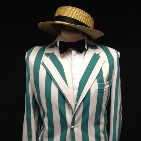 1920s Boater Man (Green & White)
