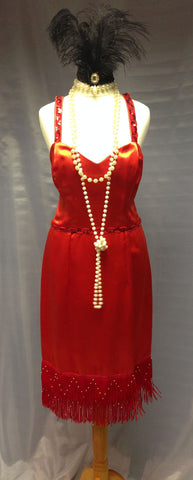 1920s Flapper in Red Satin