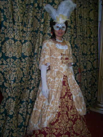 18th cent wine and gold dress customer