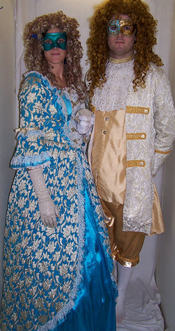 18th Century Dress in Light Blue and Gold