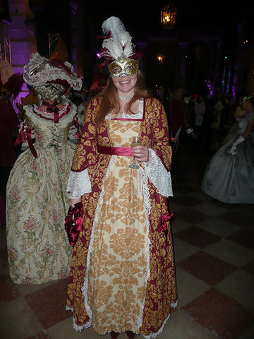 18th Century Dress in Burgundy & Gold
