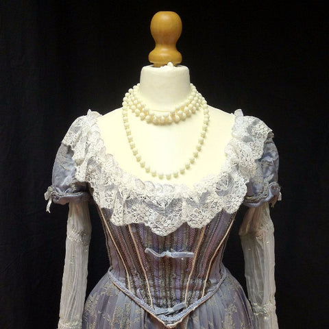 18th Century Dress in Grey Blue & White