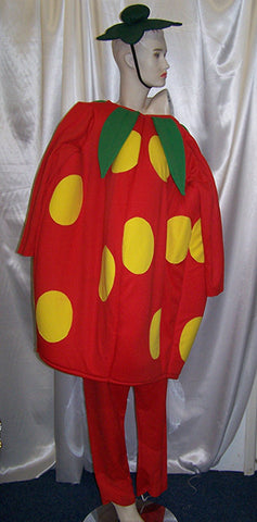 big strawberry fancy dress costume body leggings and cap