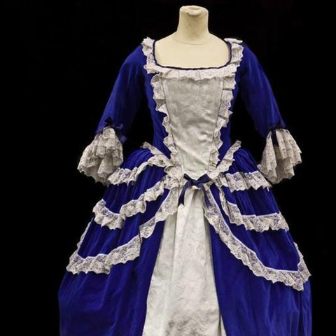 18th Century Dress in Blue and Cream
