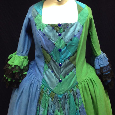 18th Century Dress in Blue & Green