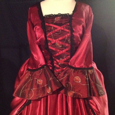 18th Century Dress in Rich Red
