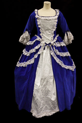 18th century blue and cream dress