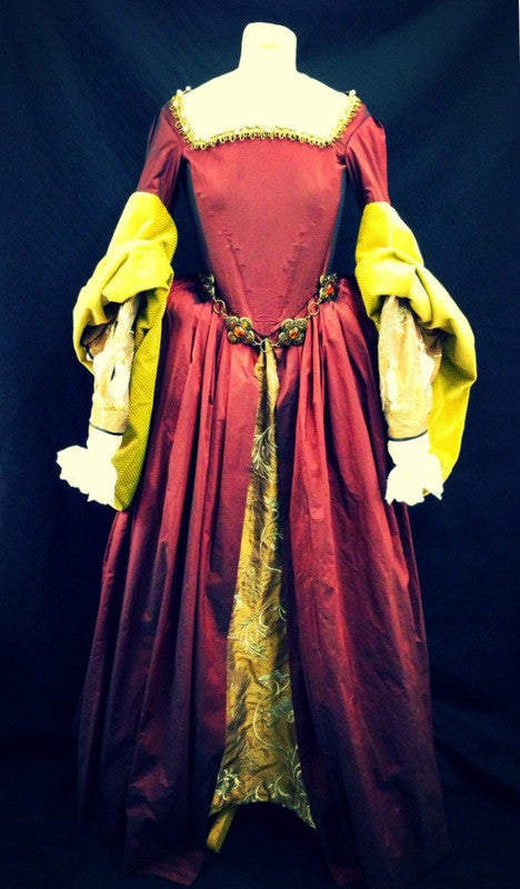 Tudor Lady in Wine Red and Gold