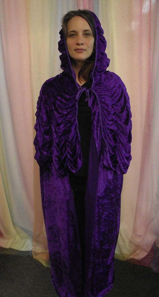 LONG PURPLE VELVET CAPE