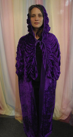 LONG PURPLE HOODED CAPE