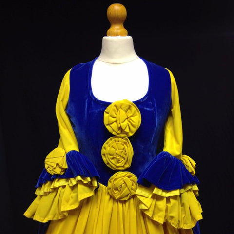 18th Century Dress in Blue and Yellow