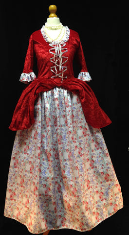 18th Century Dress in Red, White and Floral Fabric