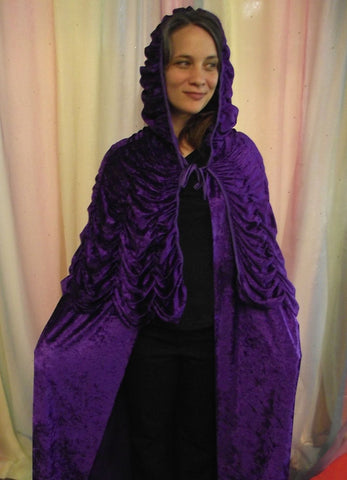 PURPLE LONG HOODED CAPE.