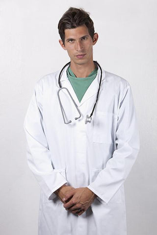 a and e doctors intern coat and stethoscope
