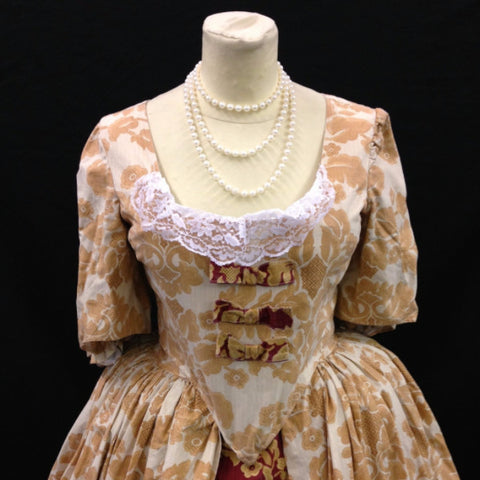 18th Century Dress in Cream, Gold and Wine