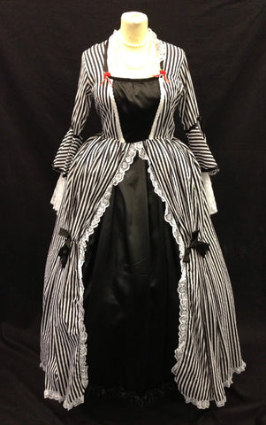 18th century black and white striped costume