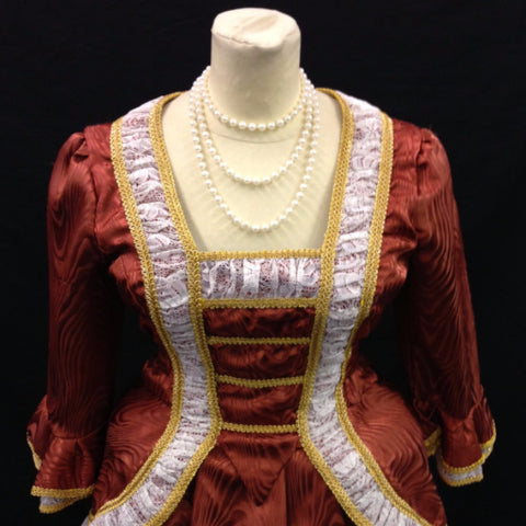 18th Century Dress in Rust, Gold & Cream