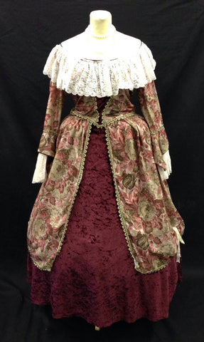 18th Century Burgundy & cream off the shoulder dress