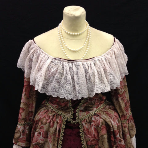 18th Century Dress in Burgundy & Cream
