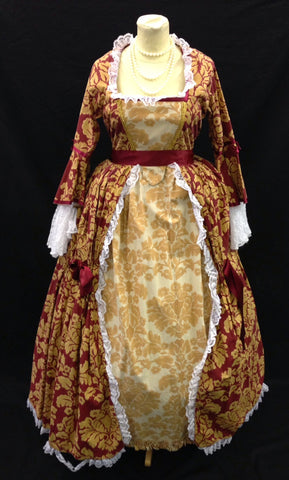 18TH CENTURY DRESS IN BURGUNDY GOLD AND WHITE LACE