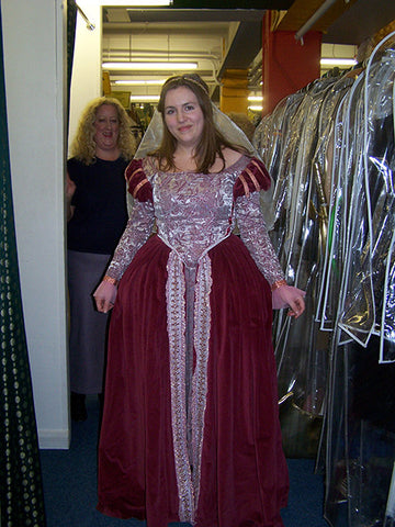 burgundy medieval court lady dress in silver and burgundy