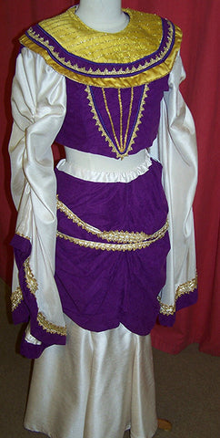 egyptian queen cleopatra costume purple white and yellow