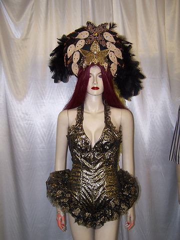 feathered showgirl headdress and leotard
