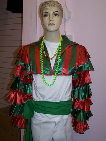 green and red mens carnival fancydress costume