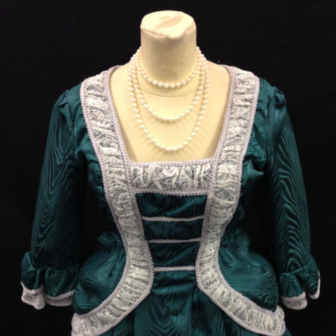 18th Century Dress in Green and White