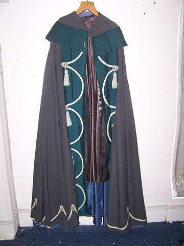 grey and blue wool cape