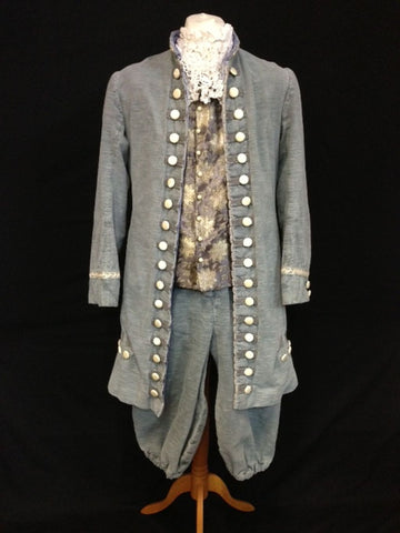 18th Century Court Gent in Grey and Blue