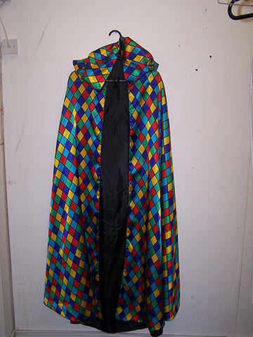 harlequin hooded carnival cape