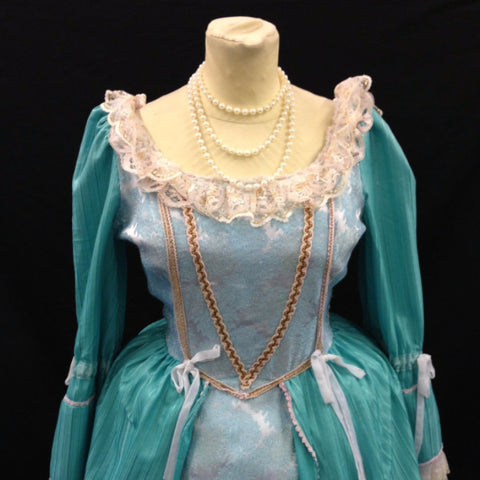 18th Century Dress in Light Green and Cream